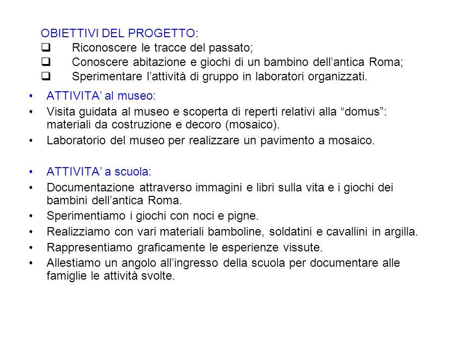 SCUOLA DELLINFANZIA DI PONTI S/M A. S. 2008/2009 ROMART: LA CASA E I GIOCHI NELLANTICA ROMA Progetto territorio realizzato dai bambini di 4-5 anni con