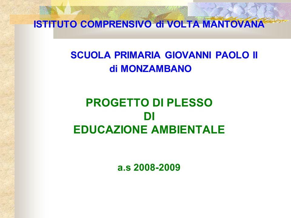 ISTITUTO COMPRENSIVO di VOLTA MANTOVANA SCUOLA PRIMARIA GIOVANNI PAOLO II di MONZAMBANO PROGETTO DI PLESSO DI EDUCAZIONE AMBIENTALE a.s 2008-2009