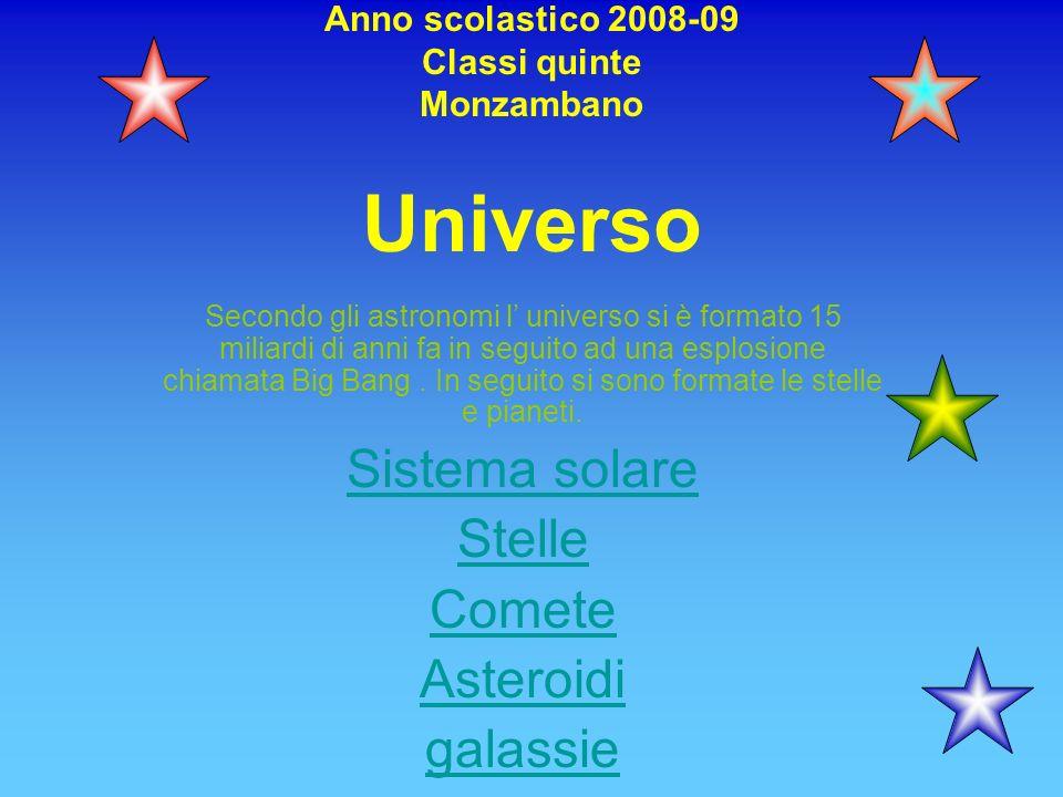 Anno scolastico 2008-09 Classi quinte Monzambano Universo Secondo gli astronomi l universo si è formato 15 miliardi di anni fa in seguito ad una esplo