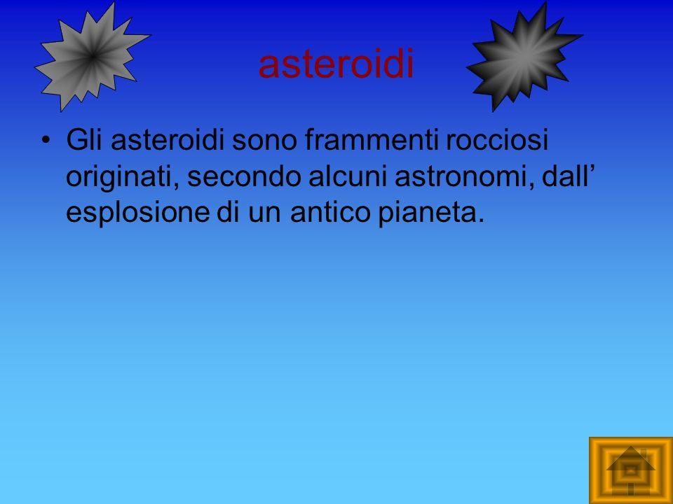 asteroidi Gli asteroidi sono frammenti rocciosi originati, secondo alcuni astronomi, dall esplosione di un antico pianeta.