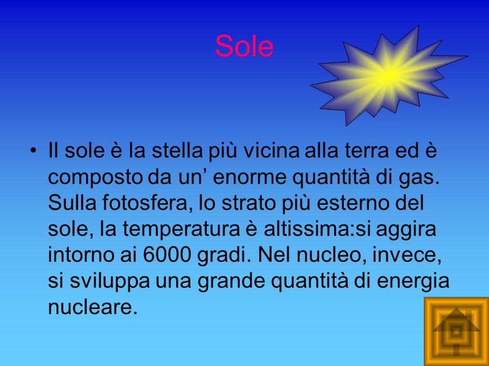 Sole Il sole è la stella più vicina alla terra ed è composto da un enorme quantità di gas. Sulla fotosfera, lo strato più esterno del sole, la tempera