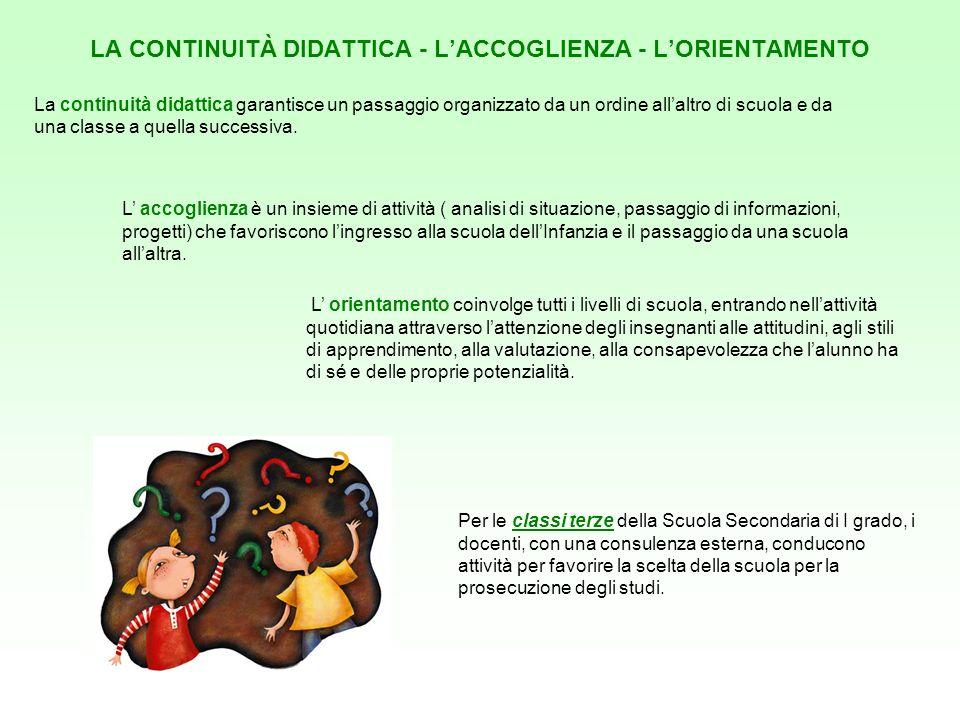 LA CONTINUITÀ DIDATTICA - LACCOGLIENZA - LORIENTAMENTO La continuità didattica garantisce un passaggio organizzato da un ordine allaltro di scuola e d