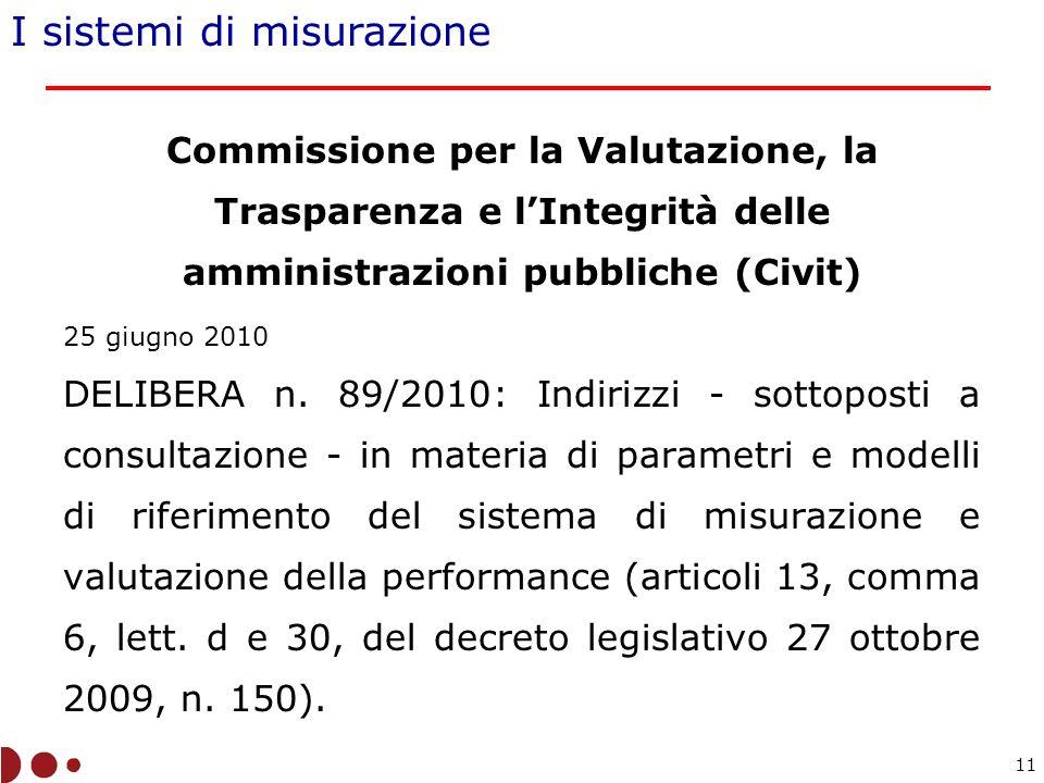 Commissione per la Valutazione, la Trasparenza e lIntegrità delle amministrazioni pubbliche (Civit) 25 giugno 2010 DELIBERA n.