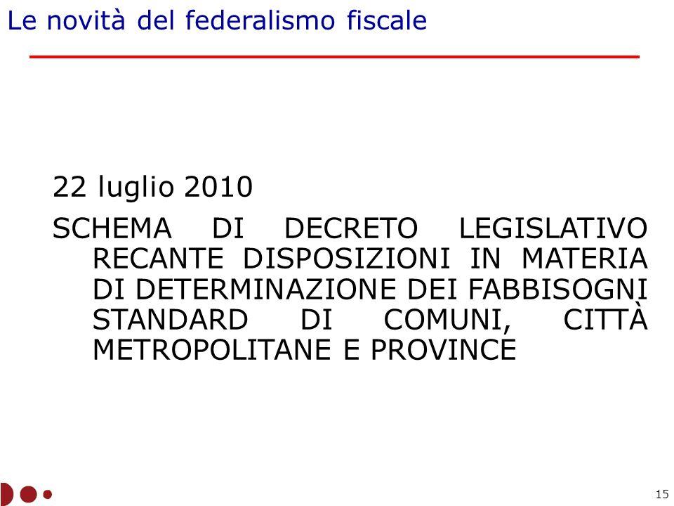 22 luglio 2010 SCHEMA DI DECRETO LEGISLATIVO RECANTE DISPOSIZIONI IN MATERIA DI DETERMINAZIONE DEI FABBISOGNI STANDARD DI COMUNI, CITTÀ METROPOLITANE E PROVINCE Le novità del federalismo fiscale 15