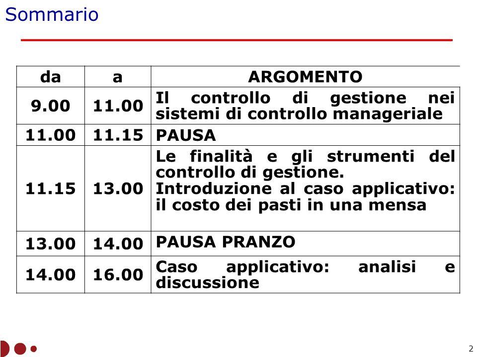 Sommario daaARGOMENTO 9.0011.00 Il controllo di gestione nei sistemi di controllo manageriale 11.0011.15 PAUSA 11.1513.00 Le finalità e gli strumenti del controllo di gestione.