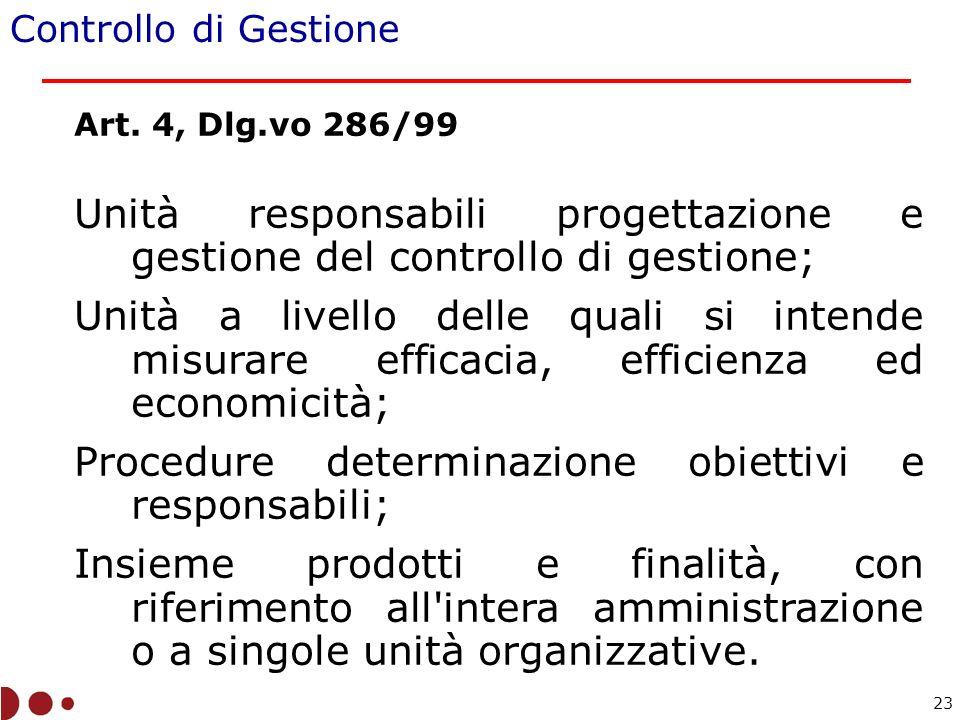 Art. 4, Dlg.vo 286/99 Unità responsabili progettazione e gestione del controllo di gestione; Unità a livello delle quali si intende misurare efficacia