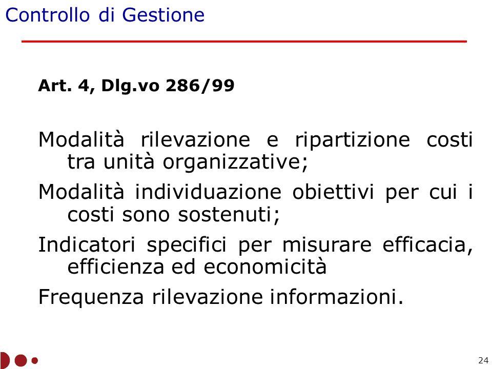 Art. 4, Dlg.vo 286/99 Modalità rilevazione e ripartizione costi tra unità organizzative; Modalità individuazione obiettivi per cui i costi sono sosten
