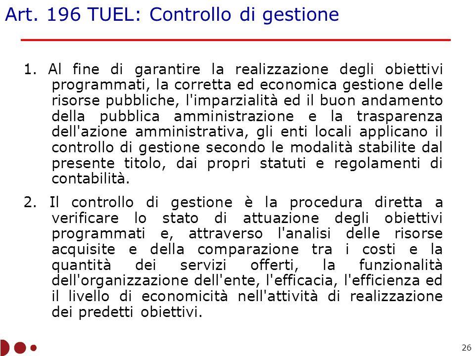 Art.196 TUEL: Controllo di gestione 1.
