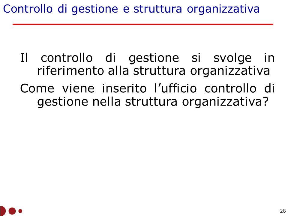 Controllo di gestione e struttura organizzativa Il controllo di gestione si svolge in riferimento alla struttura organizzativa Come viene inserito lufficio controllo di gestione nella struttura organizzativa.