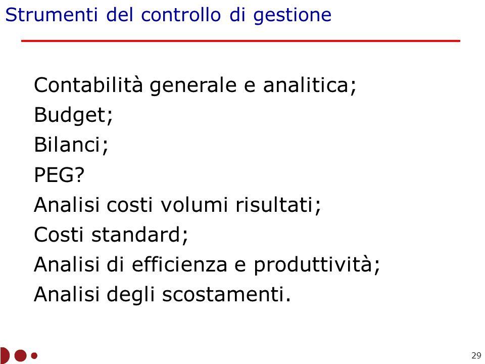 Strumenti del controllo di gestione Contabilità generale e analitica; Budget; Bilanci; PEG.
