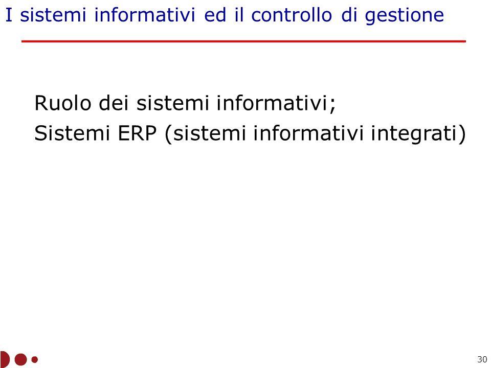 I sistemi informativi ed il controllo di gestione Ruolo dei sistemi informativi; Sistemi ERP (sistemi informativi integrati) 30