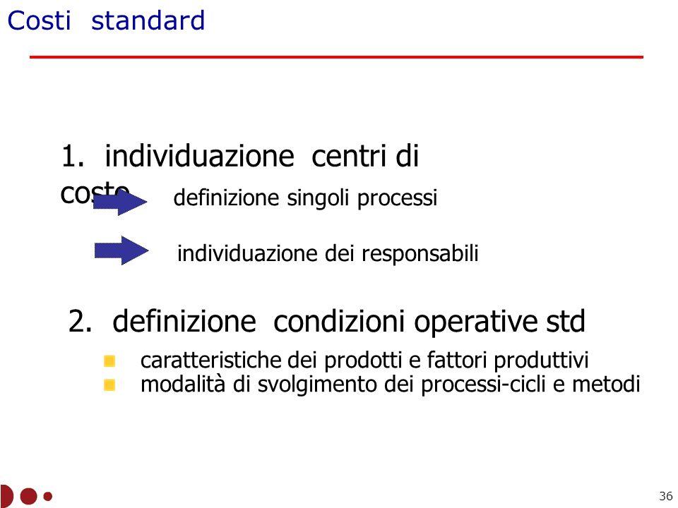 Costi standard 1.individuazione centri di costo 2.