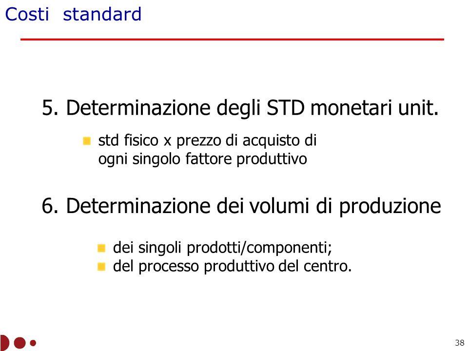 Costi standard 5.Determinazione degli STD monetari unit.