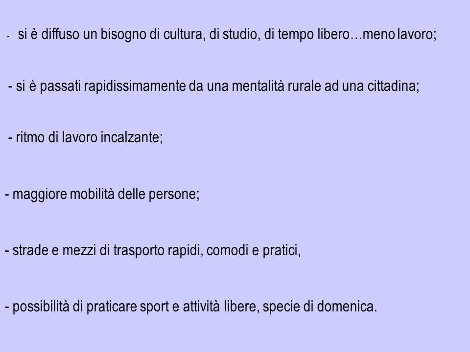 - si è diffuso un bisogno di cultura, di studio, di tempo libero…meno lavoro; - si è passati rapidissimamente da una mentalità rurale ad una cittadina