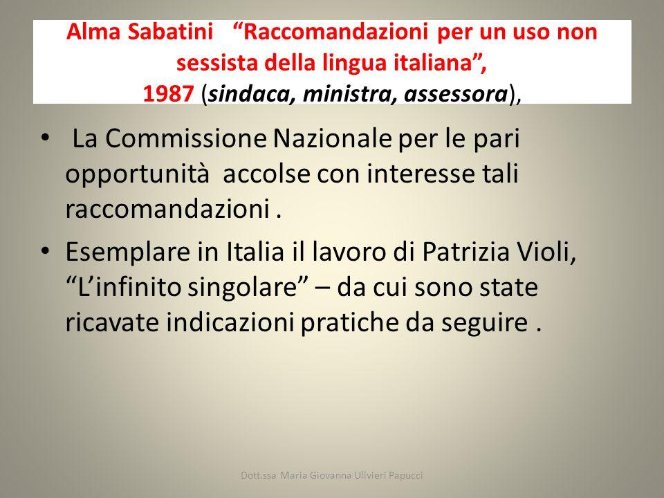 Alma Sabatini Raccomandazioni per un uso non sessista della lingua italiana, 1987 (sindaca, ministra, assessora), La Commissione Nazionale per le pari