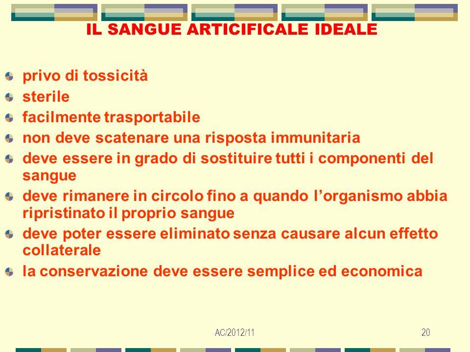AC/2012/1120 IL SANGUE ARTICIFICALE IDEALE privo di tossicità sterile facilmente trasportabile non deve scatenare una risposta immunitaria deve essere