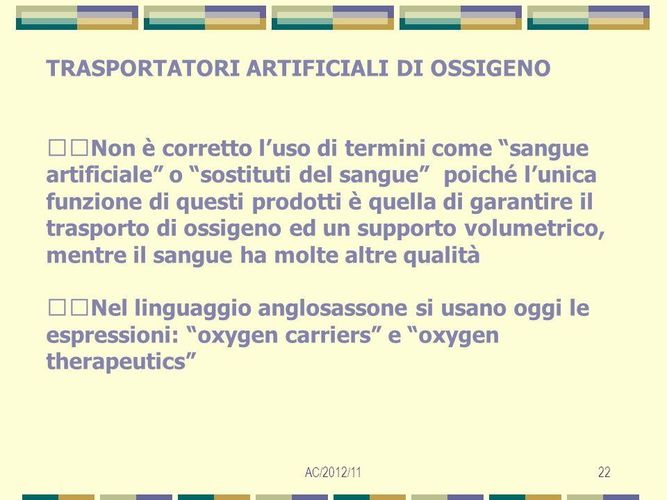 AC/2012/1122 TRASPORTATORI ARTIFICIALI DI OSSIGENO Non è corretto luso di termini come sangue artificiale o sostituti del sangue poiché lunica funzion