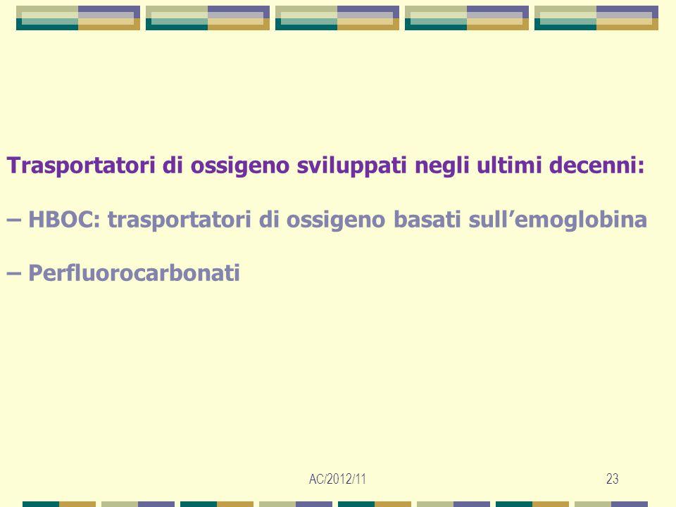 AC/2012/1123 Trasportatori di ossigeno sviluppati negli ultimi decenni: – HBOC: trasportatori di ossigeno basati sullemoglobina – Perfluorocarbonati