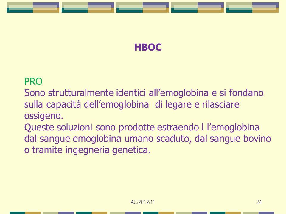AC/2012/1124 HBOC PRO Sono strutturalmente identici allemoglobina e si fondano sulla capacità dellemoglobina di legare e rilasciare ossigeno. Queste s