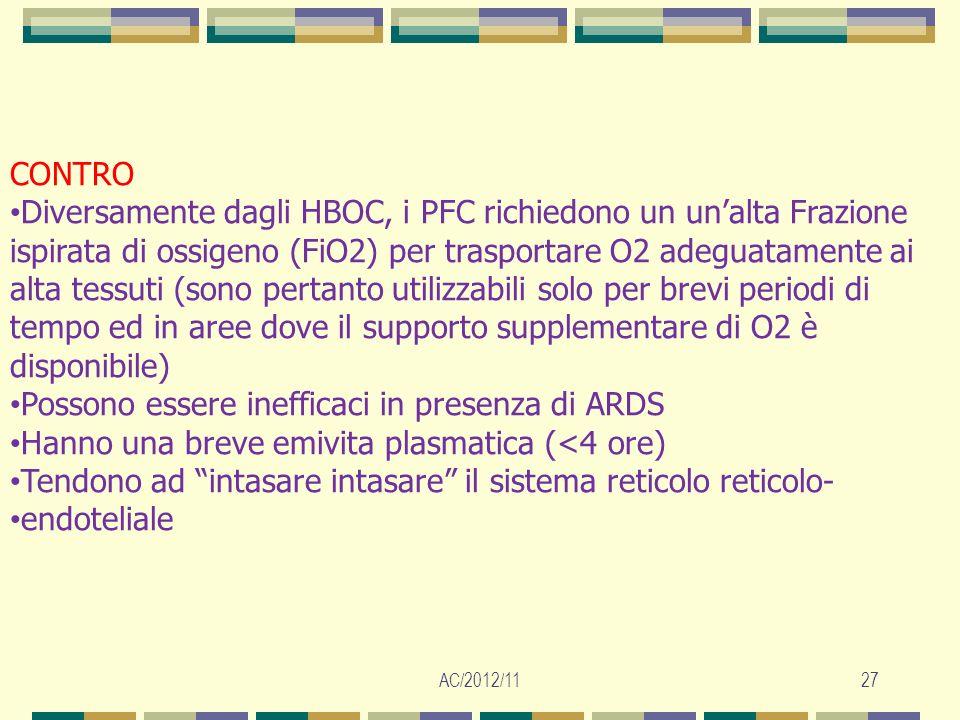 AC/2012/1127 CONTRO Diversamente dagli HBOC, i PFC richiedono un unalta Frazione ispirata di ossigeno (FiO2) per trasportare O2 adeguatamente ai alta
