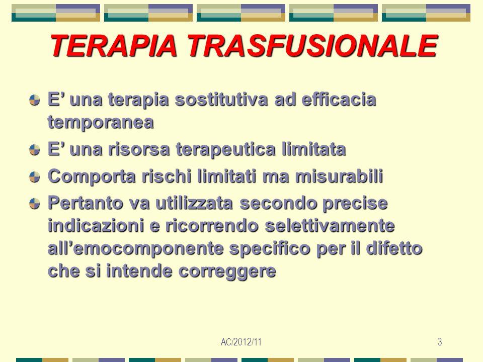 AC/2012/113 TERAPIATRASFUSIONALE TERAPIA TRASFUSIONALE E una terapia sostitutiva ad efficacia temporanea E una risorsa terapeutica limitata Comporta r