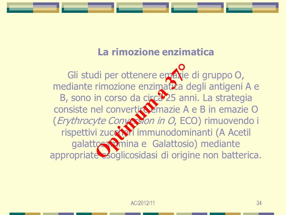 AC/2012/1134 La rimozione enzimatica Gli studi per ottenere emazie di gruppo O, mediante rimozione enzimatica degli antigeni A e B, sono in corso da c