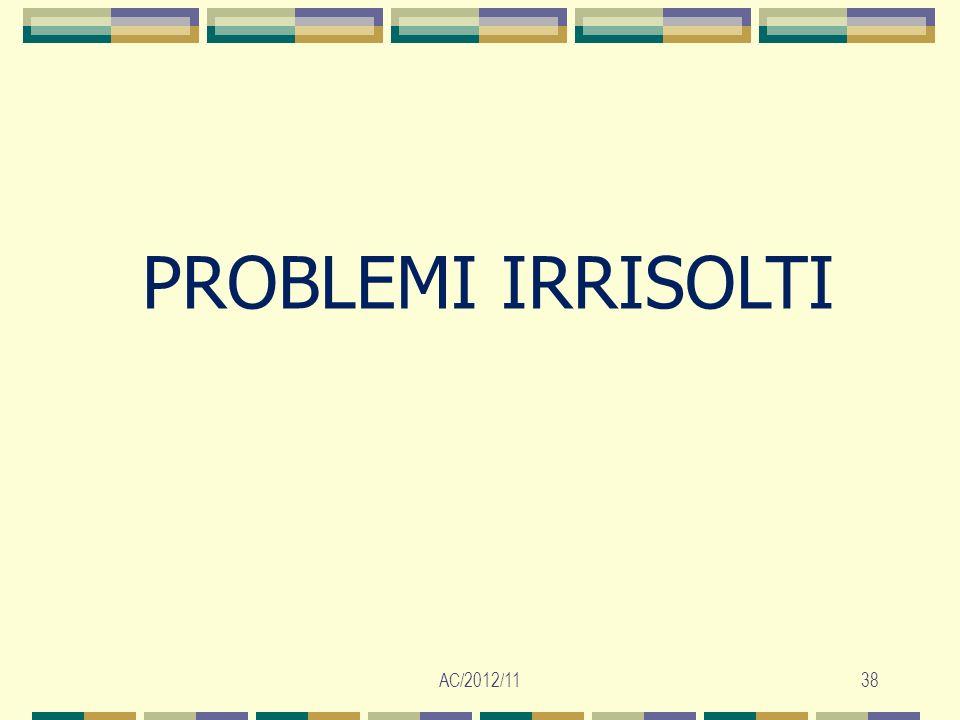 AC/2012/1138 PROBLEMI IRRISOLTI