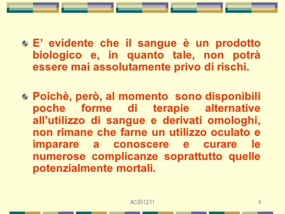 AC/2012/115 Il sangue trasfuso: - è sempre di origine umana (OMOLOGO), …proveniente o da donatori (ALLOGENICO) o dal paziente stesso (AUTOLOGO)