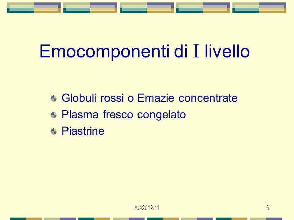 AC/2012/117 Emocomponenti di II livello Emazie leucodeplete Emazie congelate Piastrine leucodeplete Piastrine HLA compatibili Emazie e piastrine lavate Emazie e piastrine irradiate