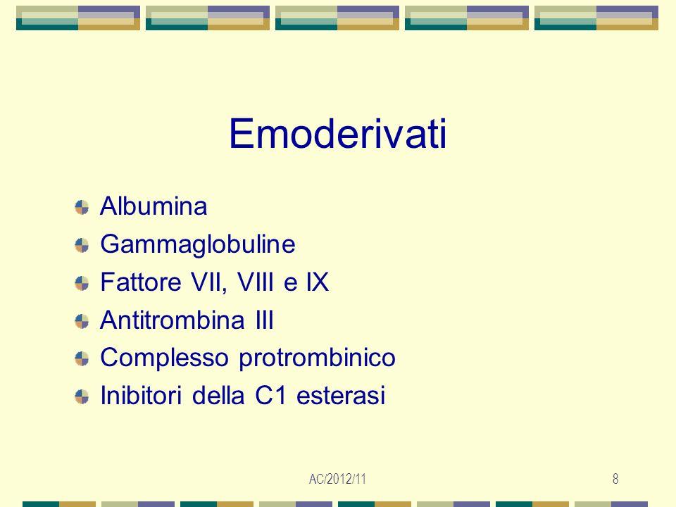 AC/2012/119 Complicanze post-trasfusionali Infezioni virali (HIV, HBV, HCV) e batteriche (Yersinia enterocolitica) Emolisi immune intravascolare Emolisi immune extravascolare Graft Versus Host Disease associata alla Trasfusione (GVHD- TA) Emolisi non immune Reazioni allergiche Reazioni anafilattiche Sepsi post-trasfusionale Reazione trasfusionale febbrile non emolitica Transfusion-Related Acute Lung Jnjury (TRALI) Sovraccarico circolatorio Sovraccarico marziale