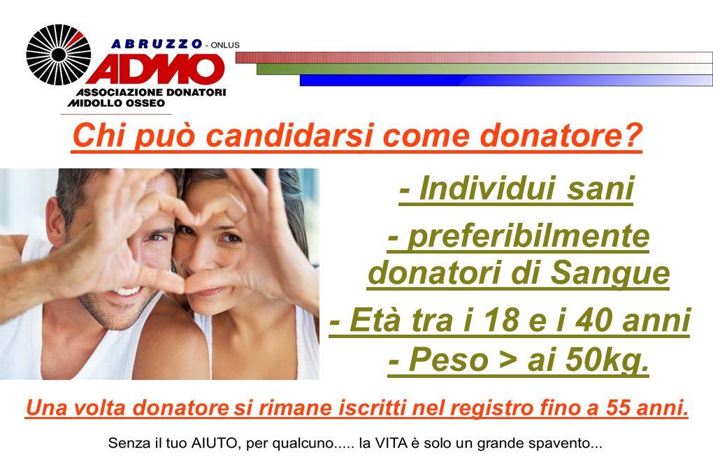- Individui sani - preferibilmente donatori di Sangue - Età tra i 18 e i 40 anni - Peso > ai 50kg. Una volta donatore si rimane iscritti nel registro