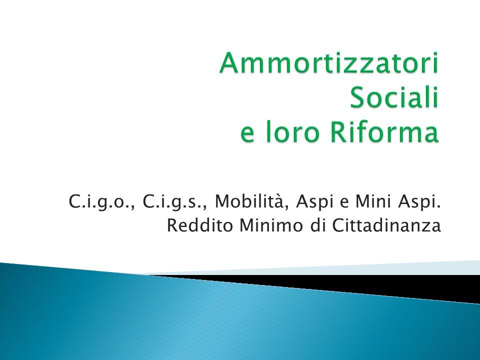 C.i.g.o., C.i.g.s., Mobilità, Aspi e Mini Aspi. Reddito Minimo di Cittadinanza