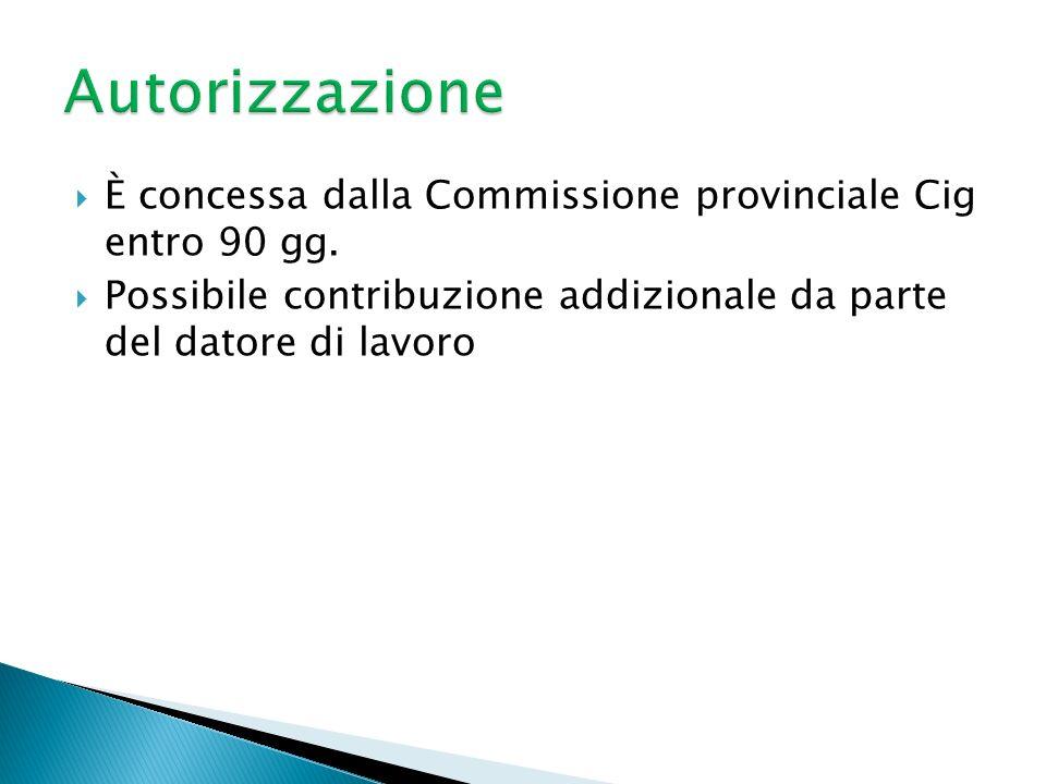 È concessa dalla Commissione provinciale Cig entro 90 gg. Possibile contribuzione addizionale da parte del datore di lavoro