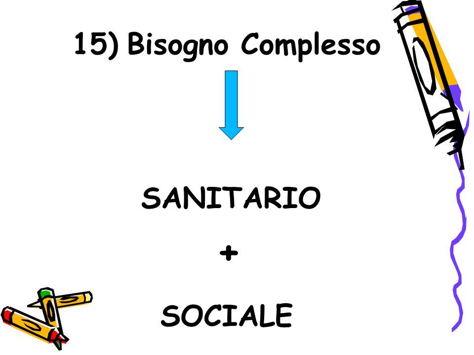 15) Bisogno Complesso SANITARIO + SOCIALE