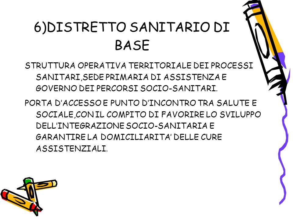 6)DISTRETTO SANITARIO DI BASE STRUTTURA OPERATIVA TERRITORIALE DEI PROCESSI SANITARI,SEDE PRIMARIA DI ASSISTENZA E GOVERNO DEI PERCORSI SOCIO-SANITARI.