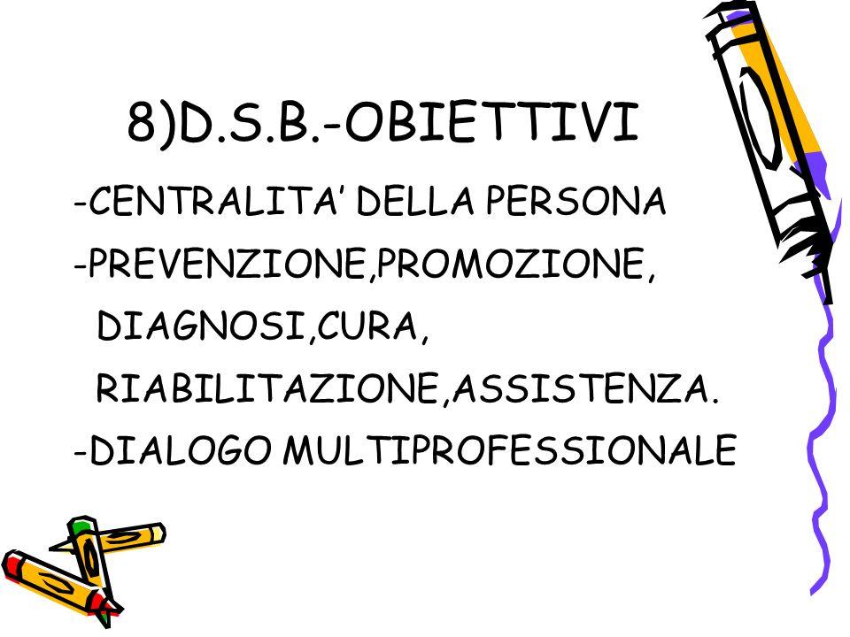 8)D.S.B.-OBIETTIVI -CENTRALITA DELLA PERSONA -PREVENZIONE,PROMOZIONE, DIAGNOSI,CURA, RIABILITAZIONE,ASSISTENZA.