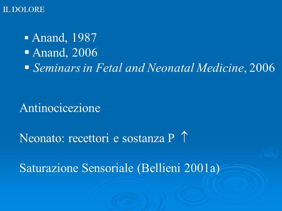 IL DOLORE Anand, 1987 Anand, 2006 Seminars in Fetal and Neonatal Medicine, 2006 Antinocicezione Neonato: recettori e sostanza P Saturazione Sensoriale