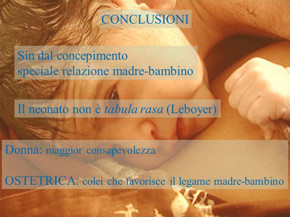 CONCLUSIONI Sin dal concepimento speciale relazione madre-bambino Il neonato non è tabula rasa (Leboyer) Donna: maggior consapevolezza OSTETRICA: cole