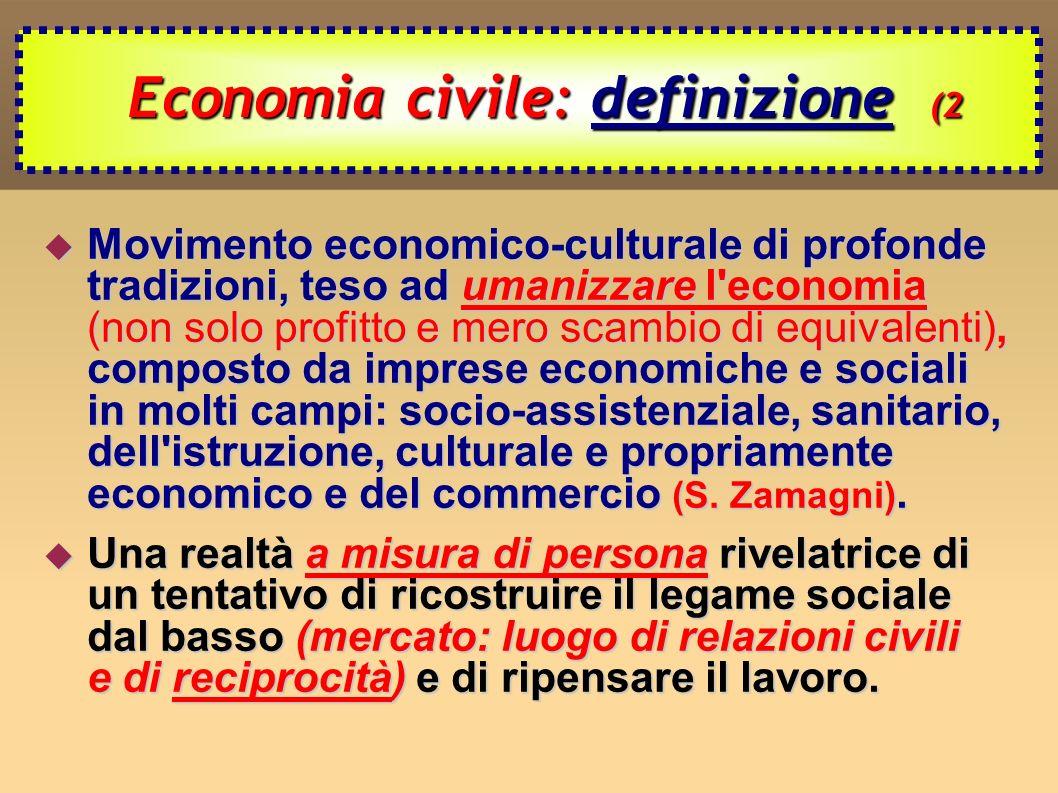 L Economia civile oggi (3 L Economia civile oggi (3 Forme di Economia civile: Forme di Economia civile: - Economia di comunione; - società cooperative; - commercio equo e solidale; - banca popolare etica; - microcredito; - attività di cooperazione allo sviluppo; - organizzazioni non governative; - fondazioni.