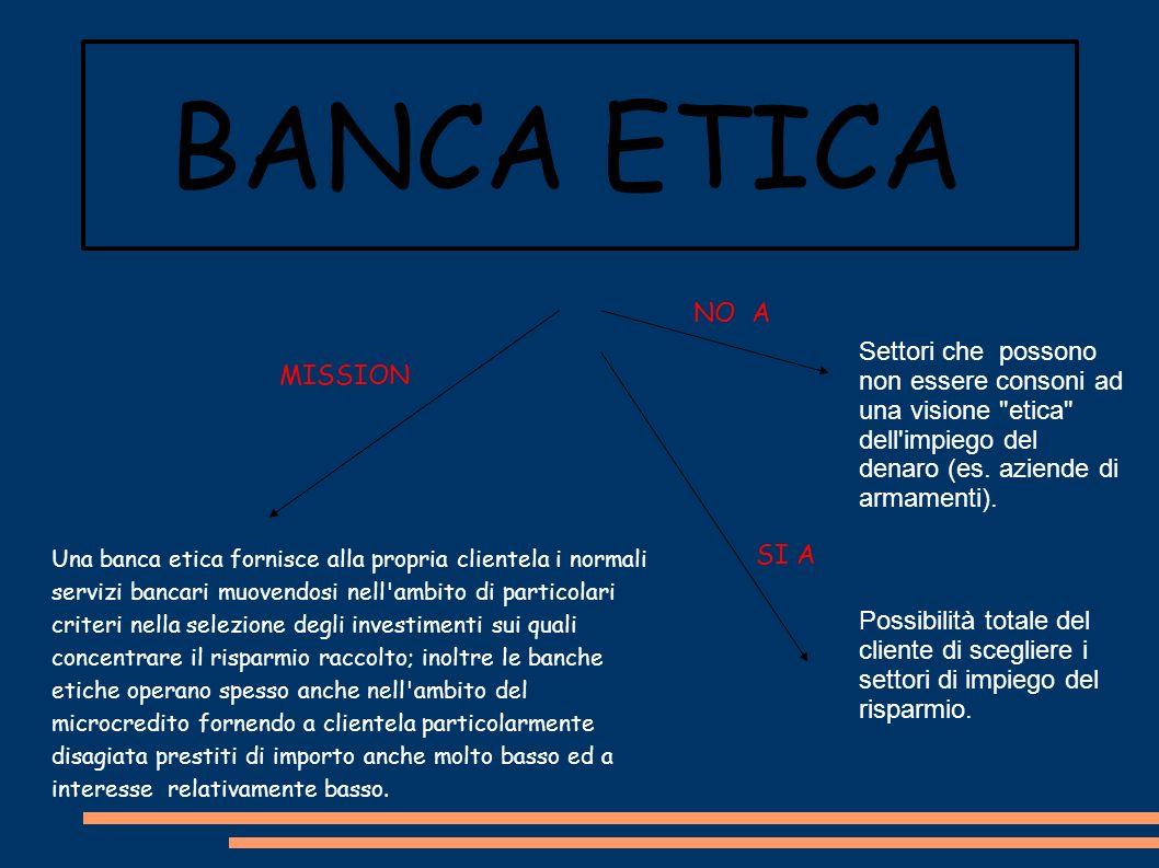 BANCA ETICA OBBLIGHI *E ticità degli impieghi finanziari: le somme raccolte vengono impiegate solo per finanziare iniziative di caratteri etico e i depositanti possono scegliere il settore a cui destinare il proprio risparmio.