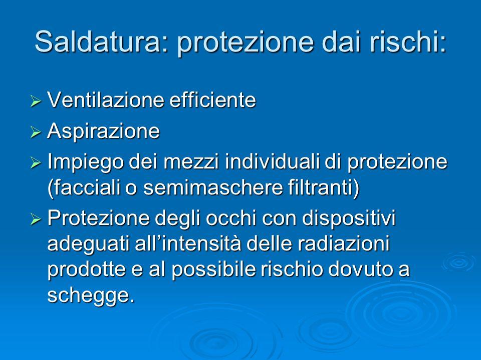 Saldatura: protezione dai rischi: Ventilazione efficiente Ventilazione efficiente Aspirazione Aspirazione Impiego dei mezzi individuali di protezione