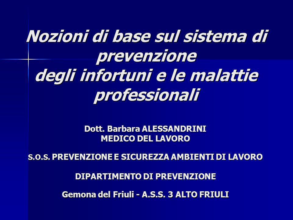 Nozioni di base sul sistema di prevenzione degli infortuni e le malattie professionali Dott. Barbara ALESSANDRINI MEDICO DEL LAVORO S.O.S. PREVENZIONE