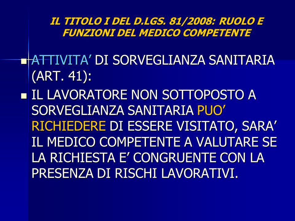 IL TITOLO I DEL D.LGS. 81/2008: RUOLO E FUNZIONI DEL MEDICO COMPETENTE ATTIVITA DI SORVEGLIANZA SANITARIA (ART. 41): ATTIVITA DI SORVEGLIANZA SANITARI