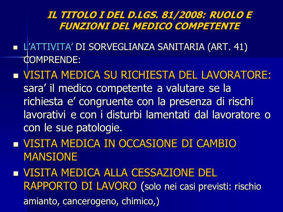 IL TITOLO I DEL D.LGS. 81/2008: RUOLO E FUNZIONI DEL MEDICO COMPETENTE LATTIVITA DI SORVEGLIANZA SANITARIA (ART. 41) COMPRENDE: LATTIVITA DI SORVEGLIA