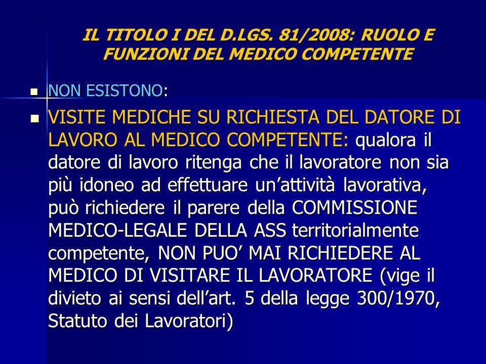 IL TITOLO I DEL D.LGS. 81/2008: RUOLO E FUNZIONI DEL MEDICO COMPETENTE NON ESISTONO: NON ESISTONO: VISITE MEDICHE SU RICHIESTA DEL DATORE DI LAVORO AL