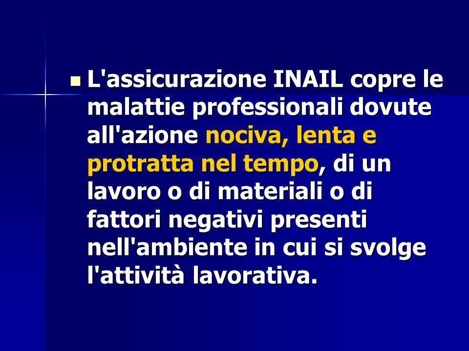 L'assicurazione INAIL copre le malattie professionali dovute all'azione nociva, lenta e protratta nel tempo, di un lavoro o di materiali o di fattori