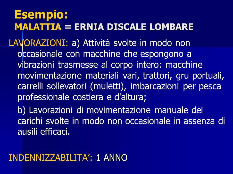 Esempio: MALATTIA = ERNIA DISCALE LOMBARE LAVORAZIONI: a) Attività svolte in modo non occasionale con macchine che espongono a vibrazioni trasmesse al