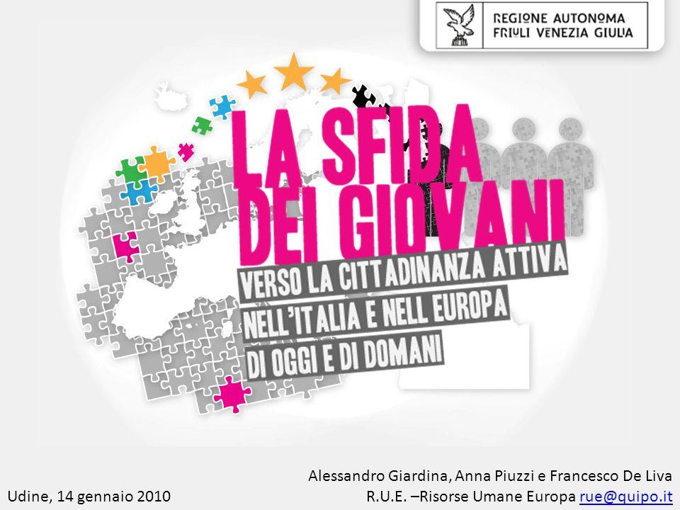 Udine, 14 gennaio 2010 Alessandro Giardina, Anna Piuzzi e Francesco De Liva R.U.E. –Risorse Umane Europa rue@quipo.itrue@quipo.it