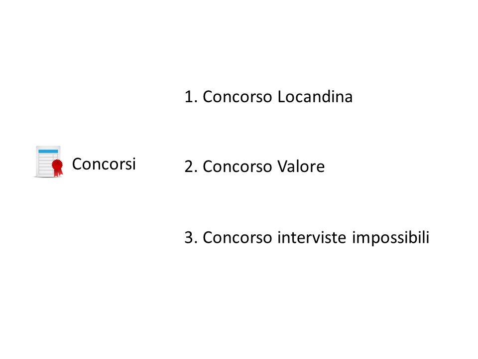 Concorsi 1. Concorso Locandina 2. Concorso Valore 3. Concorso interviste impossibili