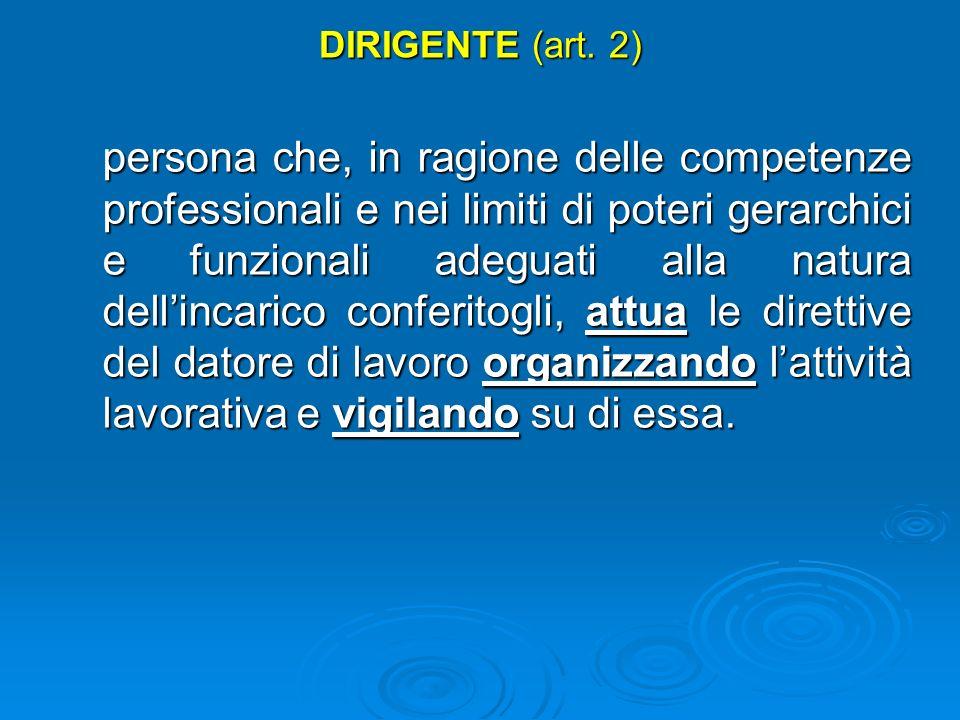 DATORE DI LAVORO (art. 2) il soggetto titolare del rapporto di lavoro con il lavoratore o, comunque, il soggetto che, secondo il tipo e lassetto dello